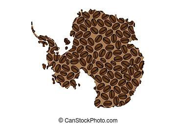 Antarctica map - Antarctica - map of coffee bean, Antarctica...