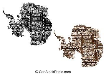 Antarctica map - Sketch Antarctica letter text continent,...