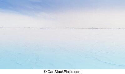 Antarctica ocean aerial view over frozen surface