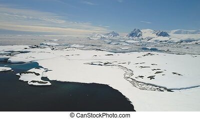 Antarctica Ocean Open Water Coast Landscape Aerial View. Arctic Majestic Dream Beauty Mountain Horizon. Polar Global Warming Wild Iceland Glacier Concept Drone Shot Footage 4K (UHD)