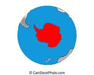 Antarctica on 3D globe isolated