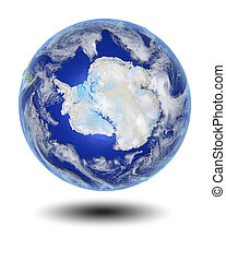 Antarctica on hovering globe