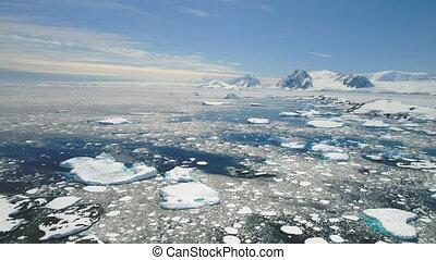 Antarctica peninsula ocean coast landscape aerial