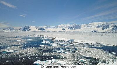 Antarctica peninsula ocean shore seascape aerial -...
