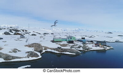 Antarctica Peninsula Vernadsky Station Aerial View -...