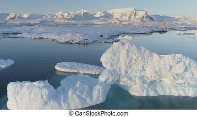 Antarctica polar iceberg coast aerial drone view