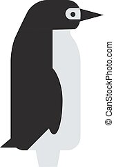 Emperor penguin cute animal and nature cold cartoon flat antarctica bird character vector.
