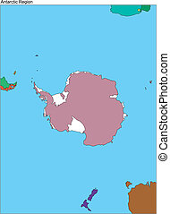 Antarctica, South Pole - Antarctica Continental Map, South...