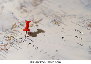 Antarctica South Pole Pinned on Map with Red Pushpin -...
