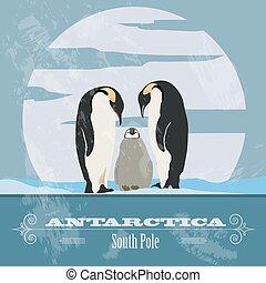Antarctica. South Pole. Retro styled image. Vector...