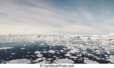 Antarctica Surf Open Water Seascape Aerial View. Majestic North Polar Ocean Horizon Panorama Overview. Wild Antarctic Nature Scenery Global Warming Concept Drone Shot Footage 4K (UHD)
