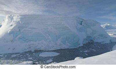 Antarctica tabular iceberg aerial drone view
