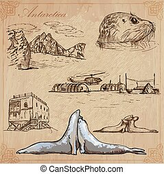 Antarctica: Travel around the World. Vector drawings.