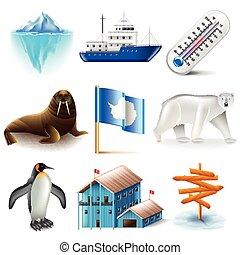 antarctica, vector, set, iconen