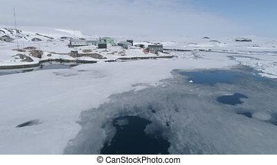 Antarctica vernadsky polar station aerial view - Antarctica...