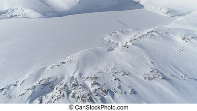 Antarctica vernadsky station aerial zoom in view