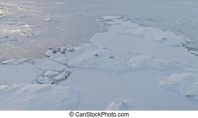 Antarctica vernadsky station aerial zoom in view -...