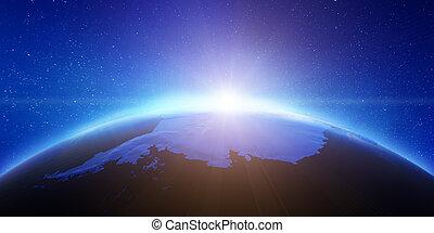 antarctique, aero, espace, vue