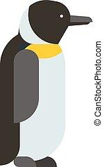 antarctique, empereur, caractère, froid, mignon, oiseau, manchots, vector., dessin animé, animal, nature, plat