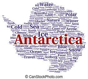 antarctique, mot, forme, nuage