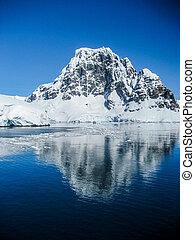 antarktisk, fjäll, relections