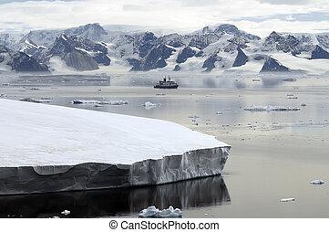 antarktisz, és, kutatás, edény