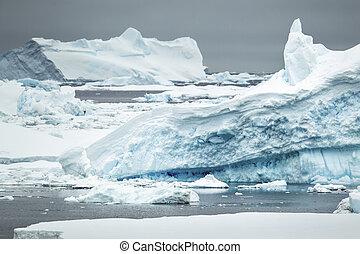 antartico, iceberg, oceano