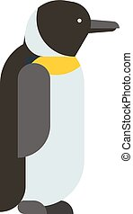 antartide, imperatore, carattere, freddo, carino, uccello, pinguino, vector., cartone animato, animale, natura, appartamento