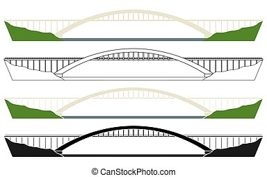 Antas river bridge in Brazil. Vector art.