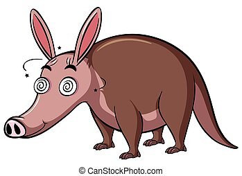 Anteater with dizzy face on white background