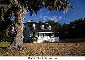 antebellum, plantacja, dom