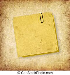 anteckna, över, grunge, gul fond