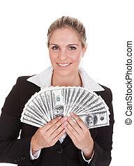 anteckna, affärskvinna, dollar, holdingen, oss