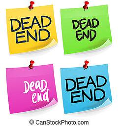anteckna, avsluta, död, klibbig