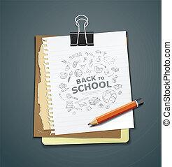 anteckna, bindemedel, bok, dagbok, klippa
