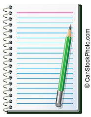 anteckna, blyertspenna, vaddera