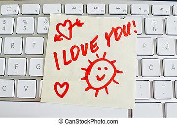 anteckna, dig, dator, kärlek, keyboard: