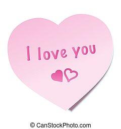 anteckna, dig, kärlek, klibbig