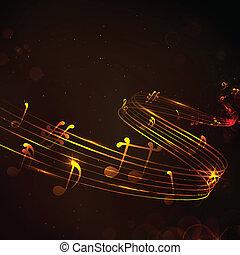 anteckna, färgrik, musikalisk, bakgrund