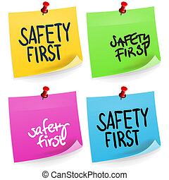 anteckna, första, säkerhet, klibbig