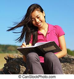 anteckna, flicka, bok, skrift