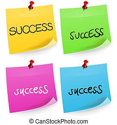 anteckna, framgång, klibbig