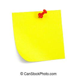 anteckna, gul, skugga, klibbig