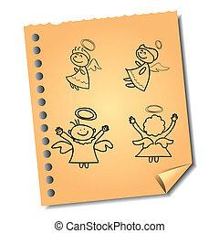 anteckna, hand-drawn, papper, återanvända, änglar, tecknad film
