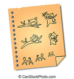 anteckna, hand-drawn, papper, tecknad film, katt