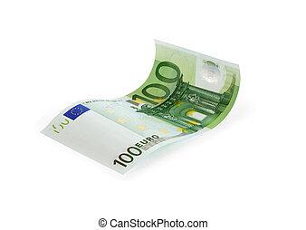 anteckna, hundra, euro en