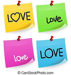 anteckna, kärlek, klibbig