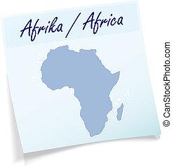 anteckna, karta, afrika, klibbig