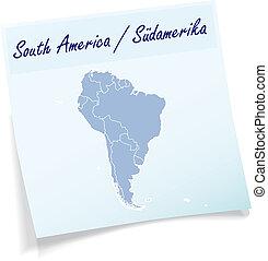 anteckna, karta, amerika, syd, klibbig