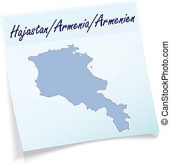 anteckna, karta, armenien, klibbig